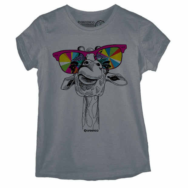 Sustainable Cotton Women's T-Shirt - Crazy Giraffe
