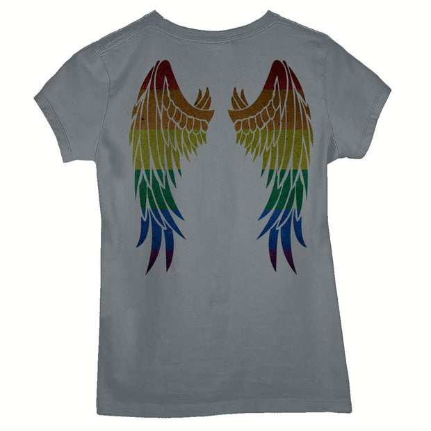 Sustainable Cotton Women's T-Shirt - Rainbow Wings