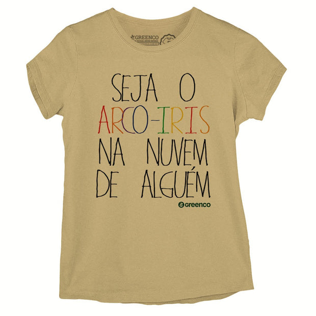 Sustainable Cotton Women's T-Shirt - Seja o arco-íris