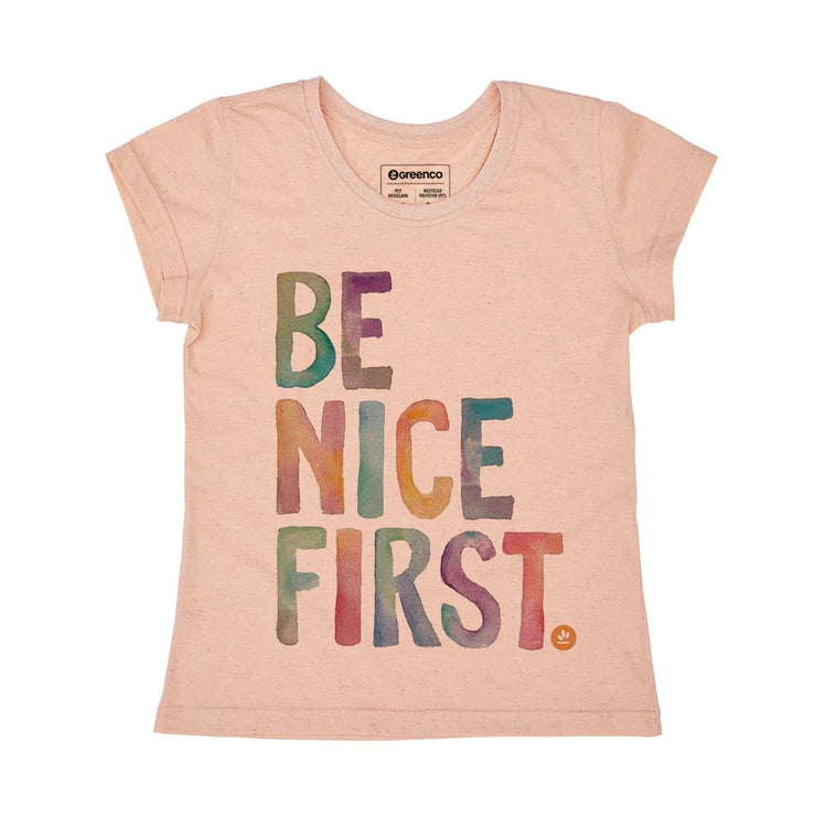 Recycled Polyester + Linen Women's T-shirt - Be Nice First