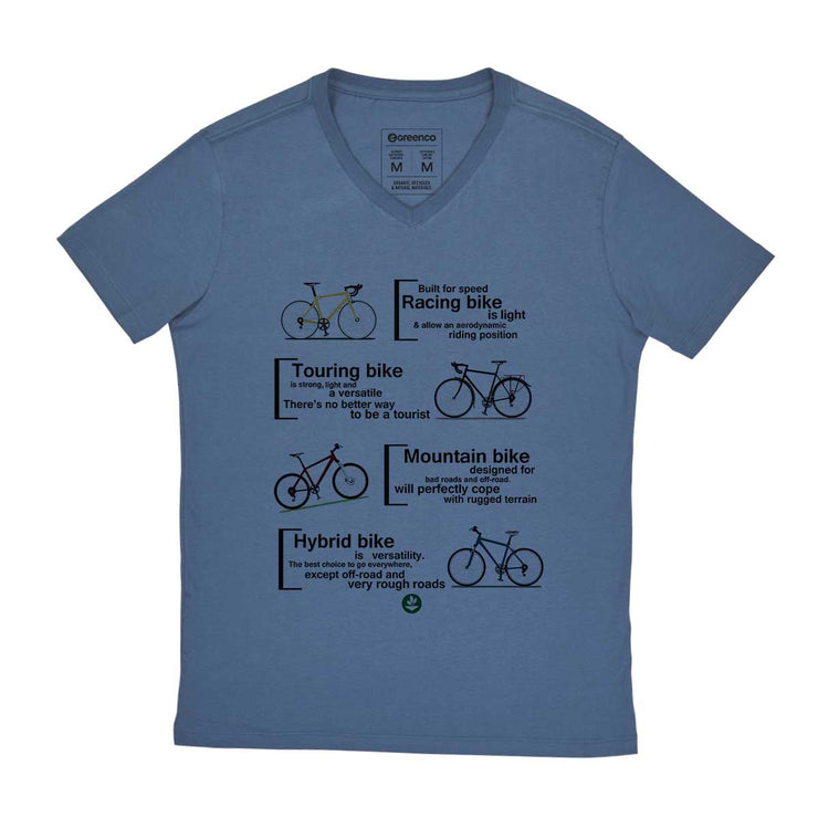 Comfort Cotton Men's V-neck T-shirt - Bike Types