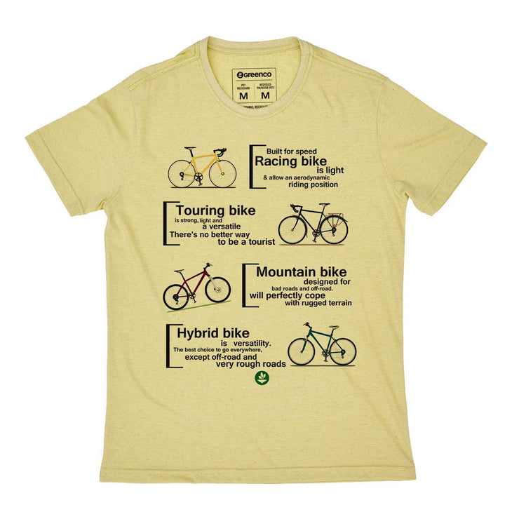 Recycled Polyester + Linen Men's T-shirt - Bike Types