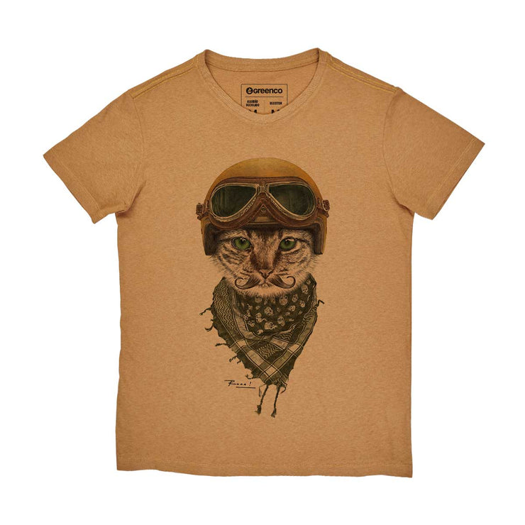 Recotton Men's T-shirt - Biker Cat - RK