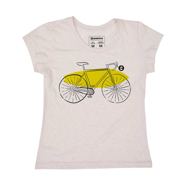 Recycled Polyester + Linen Women's T-shirt - Let's Go!
