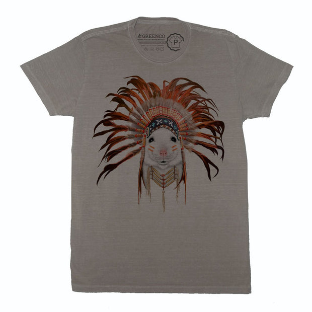 Sustainable Cotton Men's T-Shirt - Orange Feather Mouse - RK