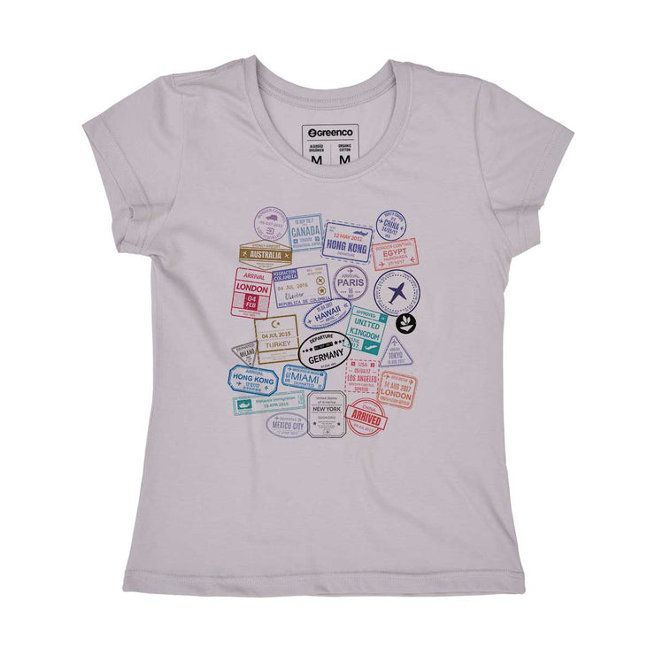 Organic Cotton Women's T-shirt - Passport Stamps