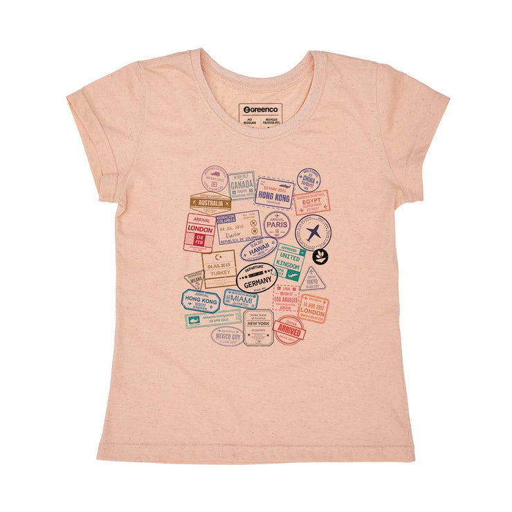 Recycled Polyester + Linen Women's T-shirt - Passport Stamps