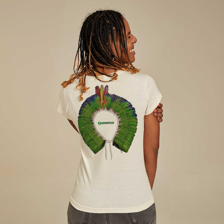 Recycled Polyester + Linen Women's T-shirt - Green Headdress