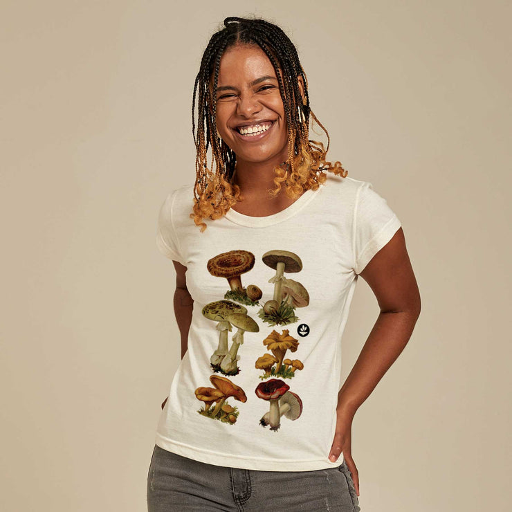 Recycled Polyester + Linen Women's T-shirt - Mushrooms