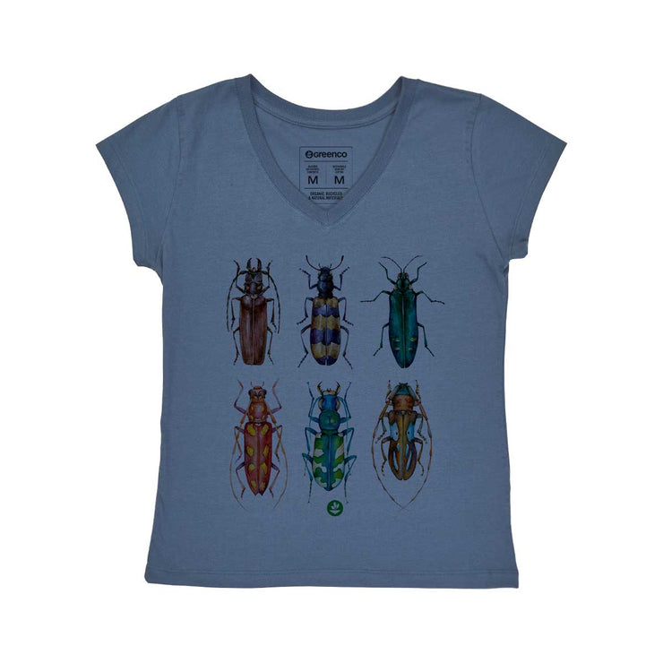Comfort Cotton Women's V-neck T-shirt - Colored Beetles