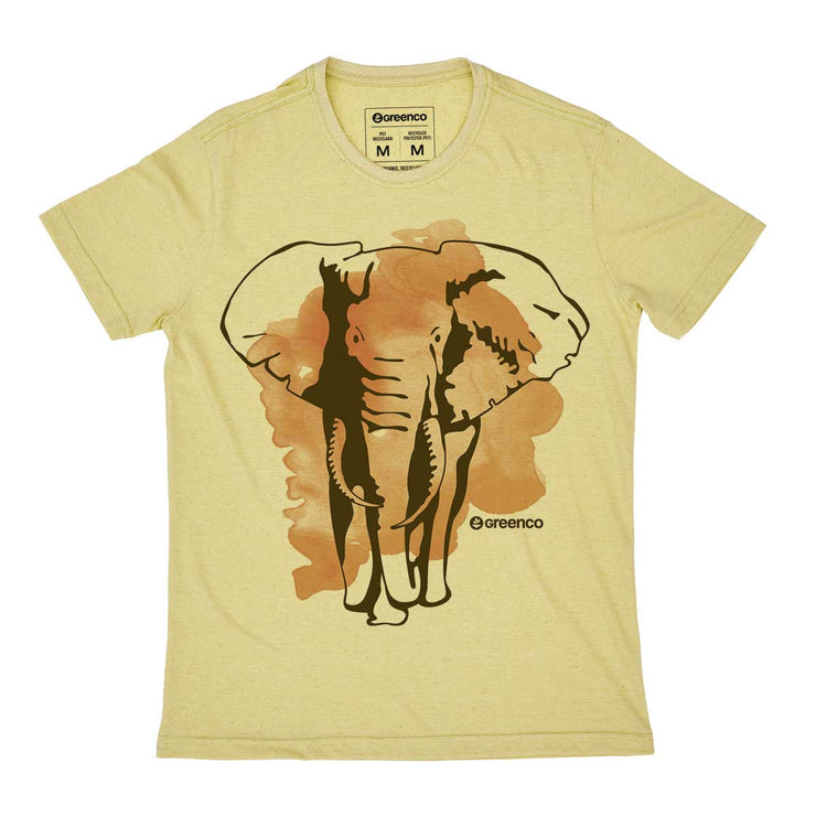 Recycled Polyester + Linen Men's T-shirt - Elephant