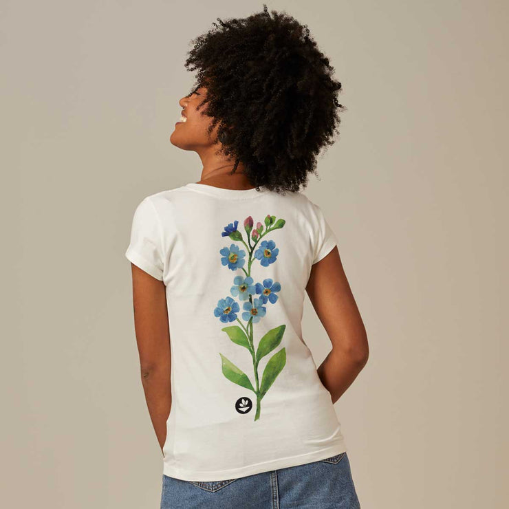 Comfort Cotton Women's V-neck T-shirt - Watercolor Flower 2