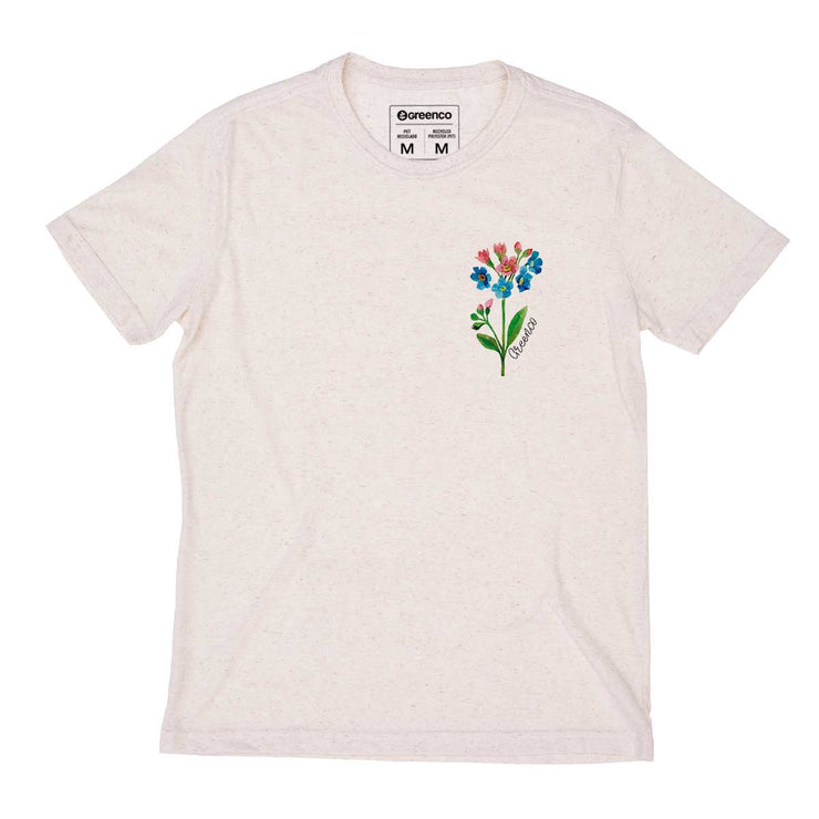 Recycled Polyester + Linen Men's T-shirt - Watercolor Flower