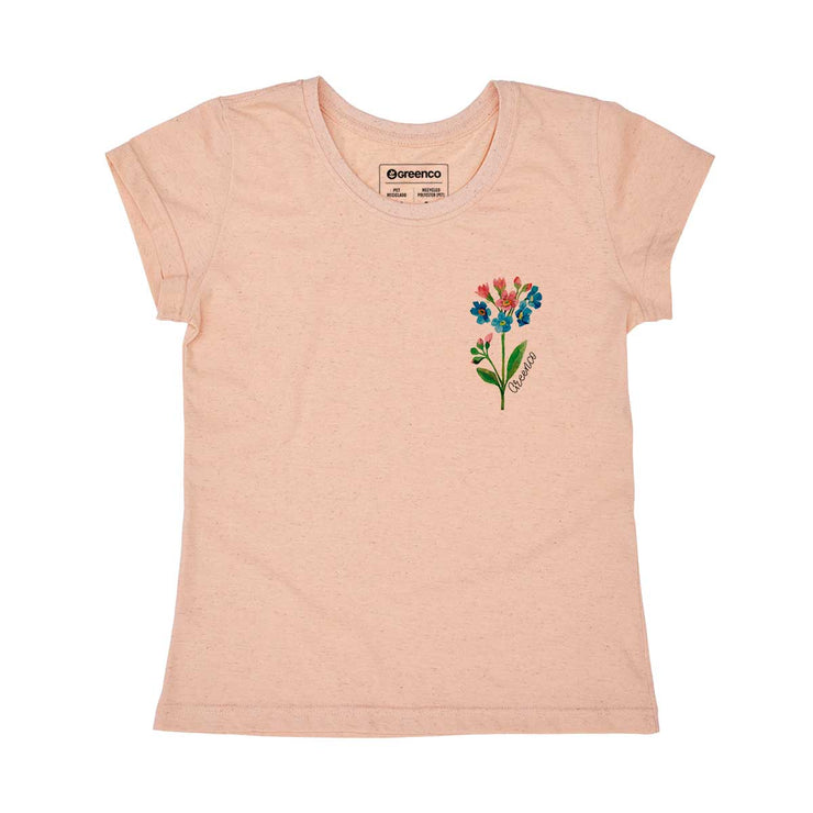 Recycled Polyester + Linen Women's T-shirt - Watercolor Flower