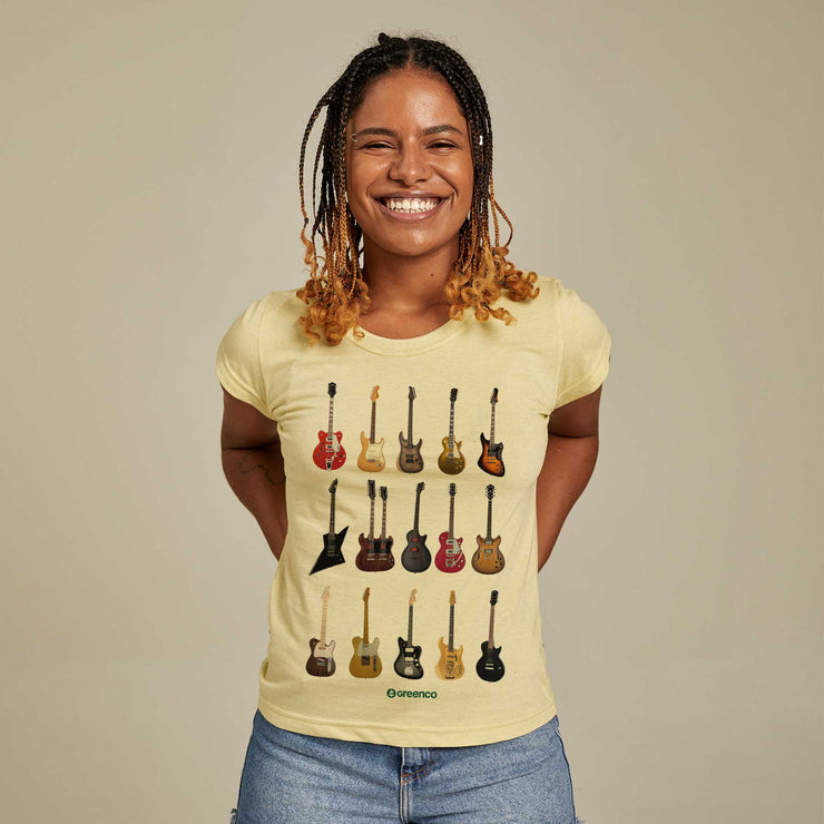 Recycled Polyester + Linen Women's T-shirt - Guitar Types