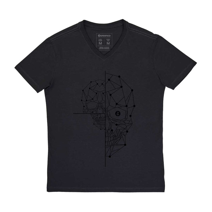 Comfort Cotton Men's V-neck T-shirt - Half Skull