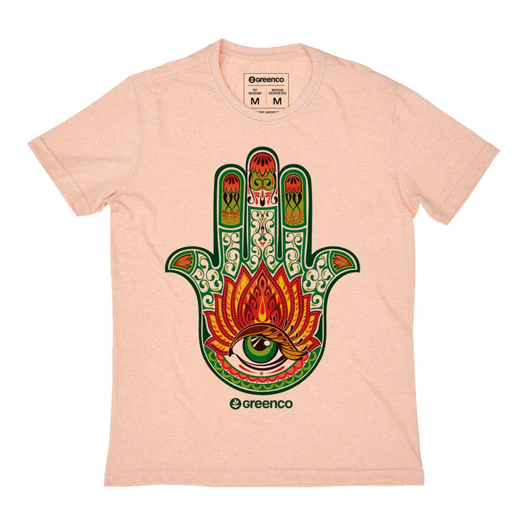 Recycled Polyester + Linen Men's T-shirt - Hamsa Color