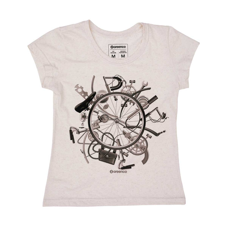 Recycled Polyester + Linen Women's T-shirt - I Love Bike