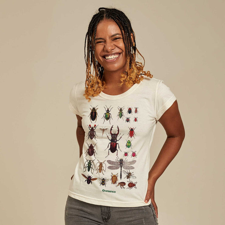 Recycled Polyester + Linen Women's T-shirt - Insects