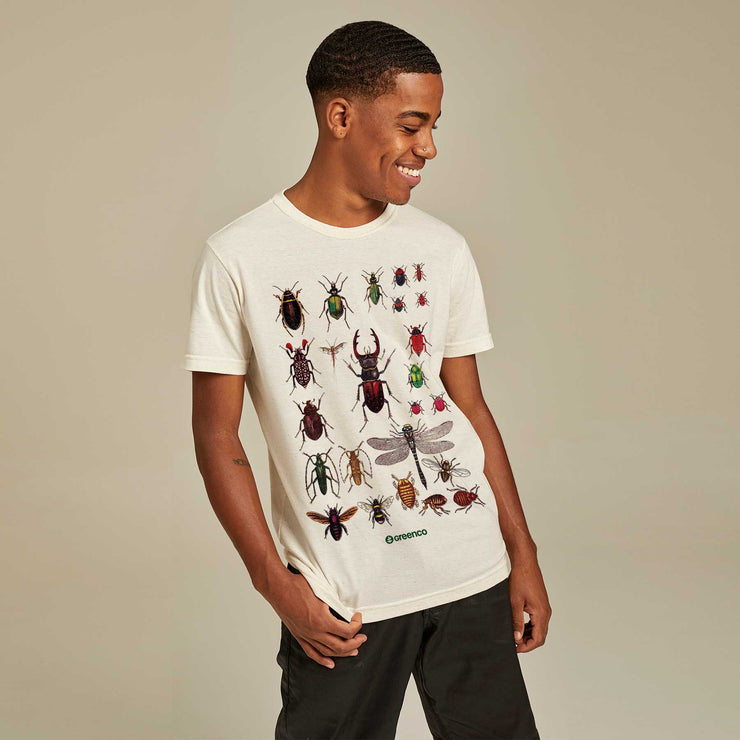 Recycled Polyester + Linen Men's T-shirt - Insects