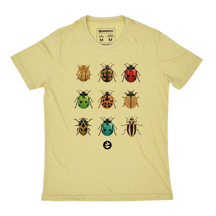 Recycled Polyester + Linen Men's T-shirt - Ladybugs