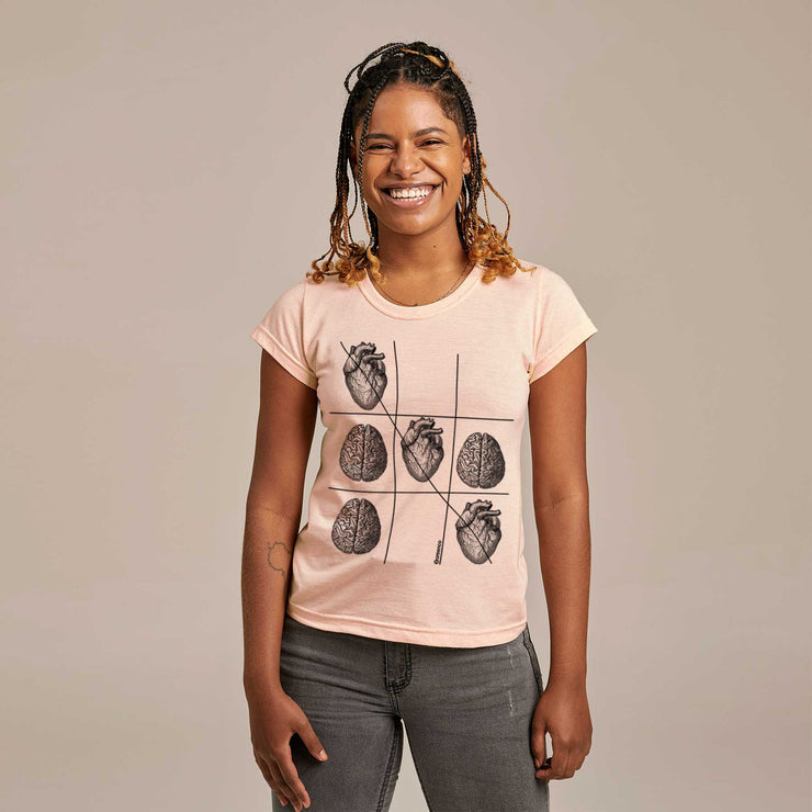Recycled Polyester + Linen Women's T-shirt - Emotion Tic-Tac-Toe