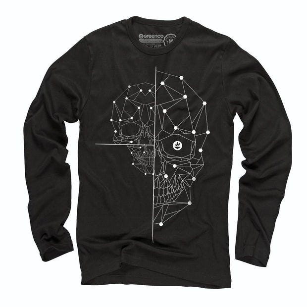 Sustainable Cotton Long Sleeve T-Shirt - Half Skull