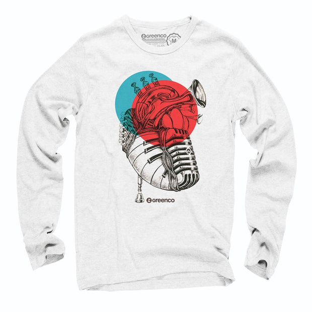 Sustainable Cotton Long Sleeve T-Shirt - Music Heart