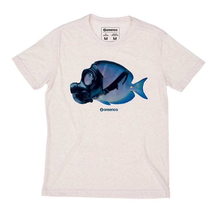 Recycled Polyester + Linen Men's T-shirt - Mask Fish