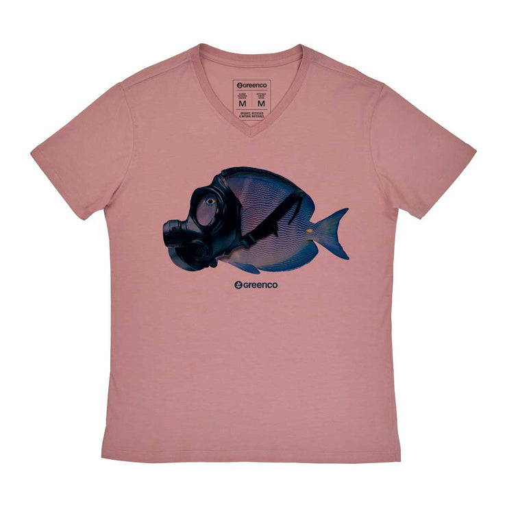 Comfort Cotton Men's V-neck T-shirt - Mask Fish