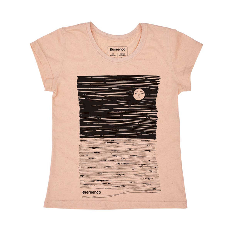 Recycled Polyester + Linen Women's T-shirt - Moon Eyes