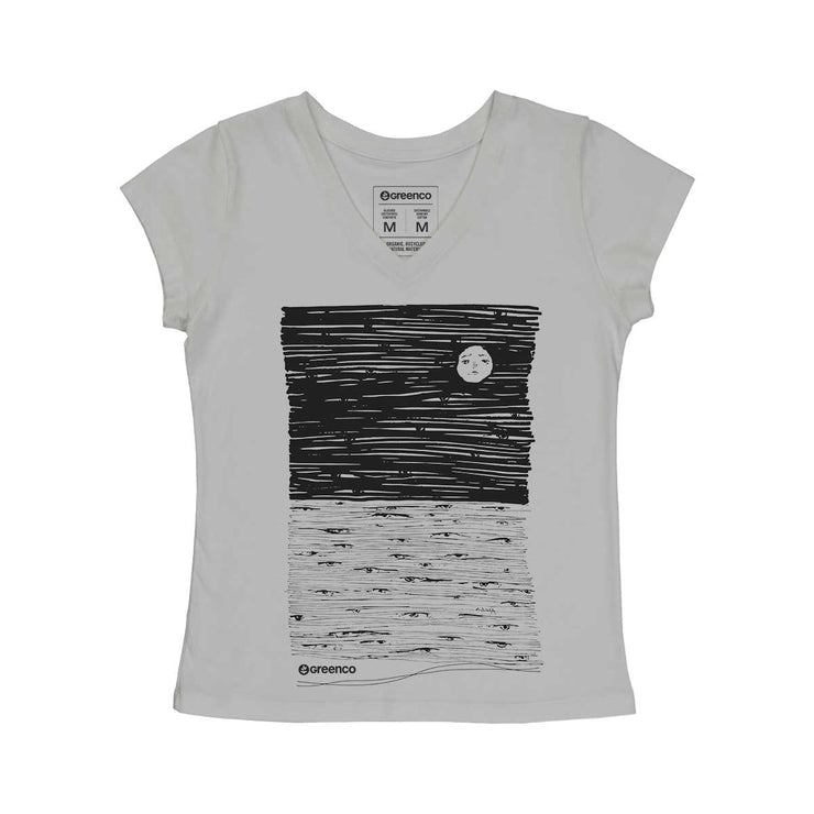 Comfort Cotton Women's V-neck T-shirt - Moon Eyes