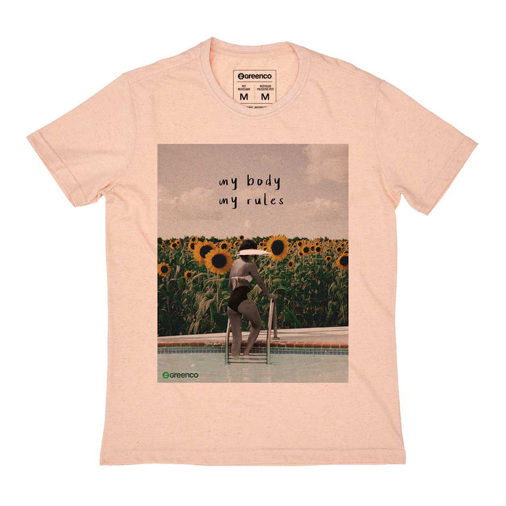 Recycled Polyester + Linen Men's T-shirt - My Body My Rules