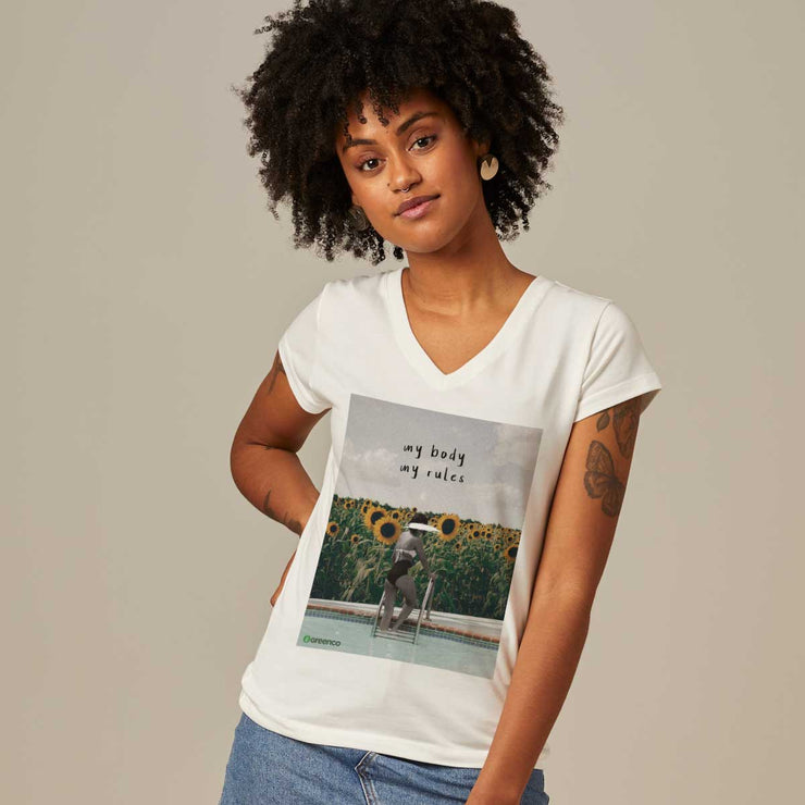 Comfort Cotton Women's V-neck T-shirt - My Body My Rules