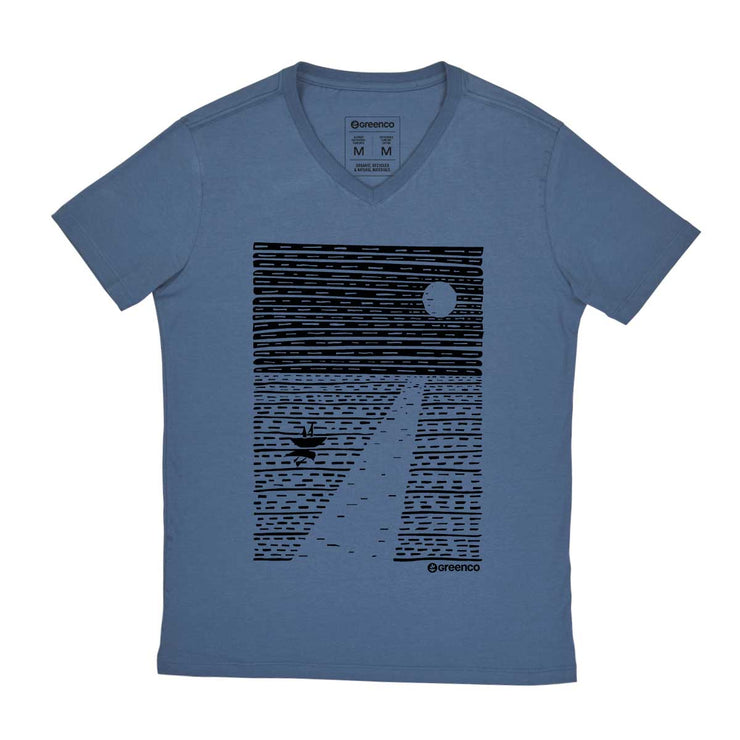 Comfort Cotton Men's V-neck T-shirt - Ocean Moon