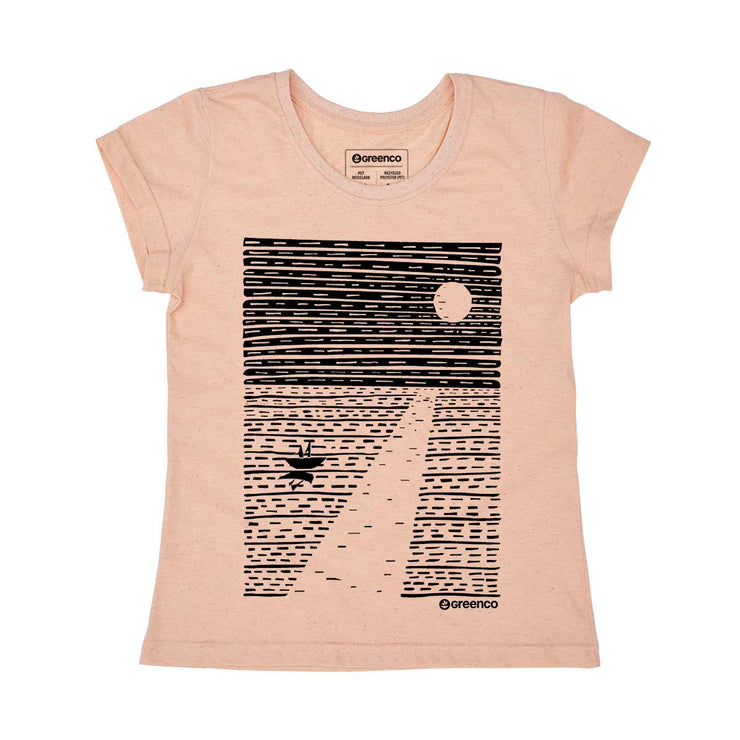 Recycled Polyester + Linen Women's T-shirt - Ocean Moon