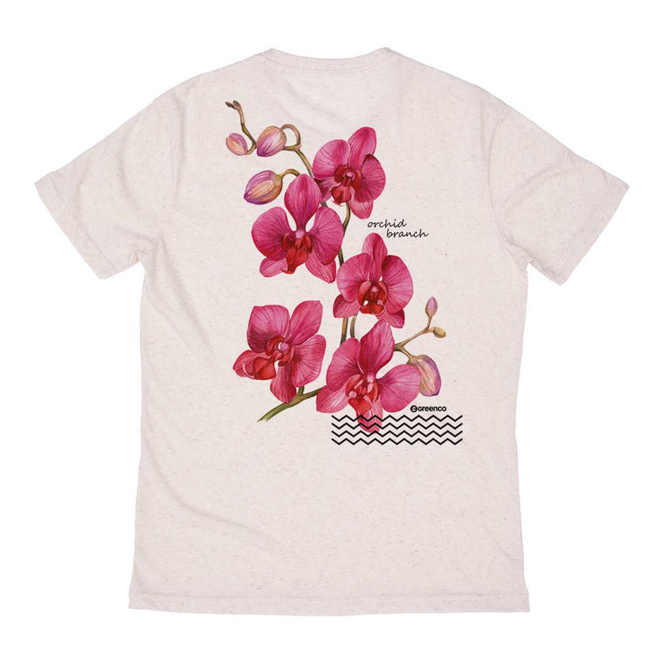 Recycled Polyester + Linen Men's T-shirt - Rose Orquid Backside