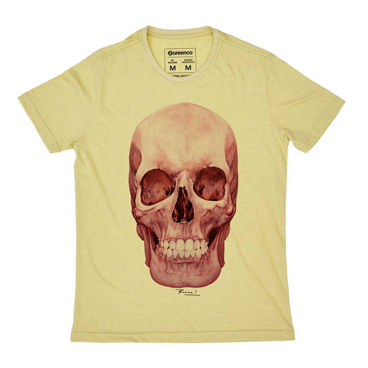 Recycled Polyester + Linen Men's T-shirt - Skull Color Pink - RK