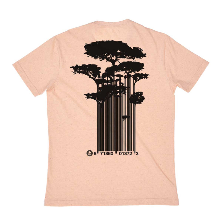Recycled Polyester + Linen Men's T-shirt - Tree Code