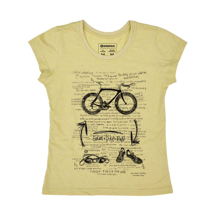 Recycled Polyester + Linen Women's T-shirt - Triathlon