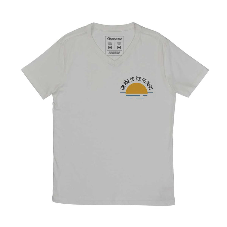 Comfort Cotton Men's V-neck T-shirt - Um Pôr Do Sol Na Praia