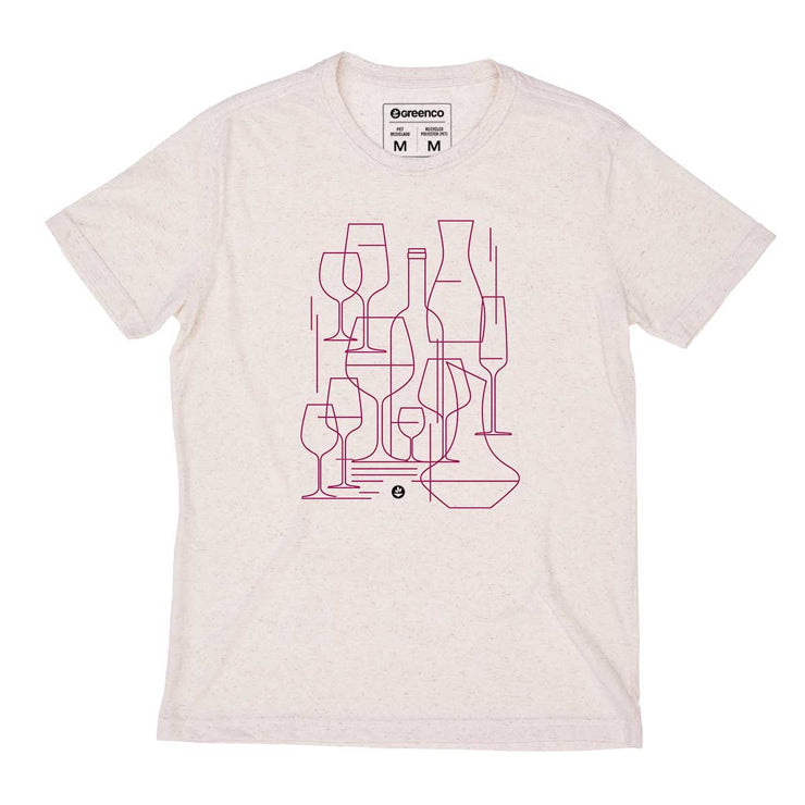 Recycled Polyester + Linen Men's T-shirt - Graphic Wine