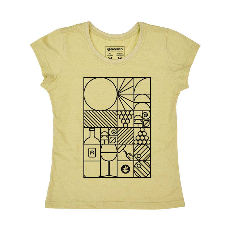 Recycled Polyester + Linen Women's T-shirt - Geo Winery