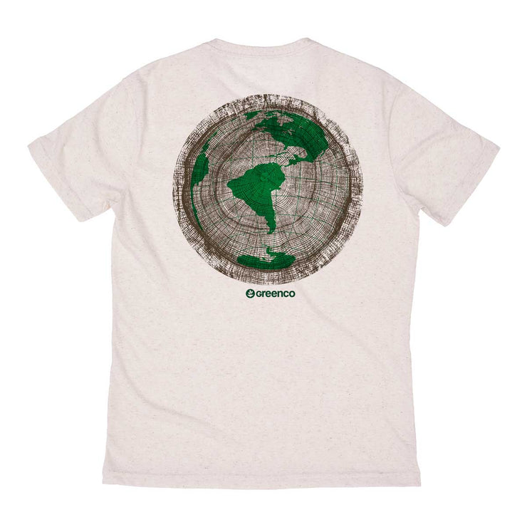 Recycled Polyester + Linen Men's T-shirt - Green Wood World