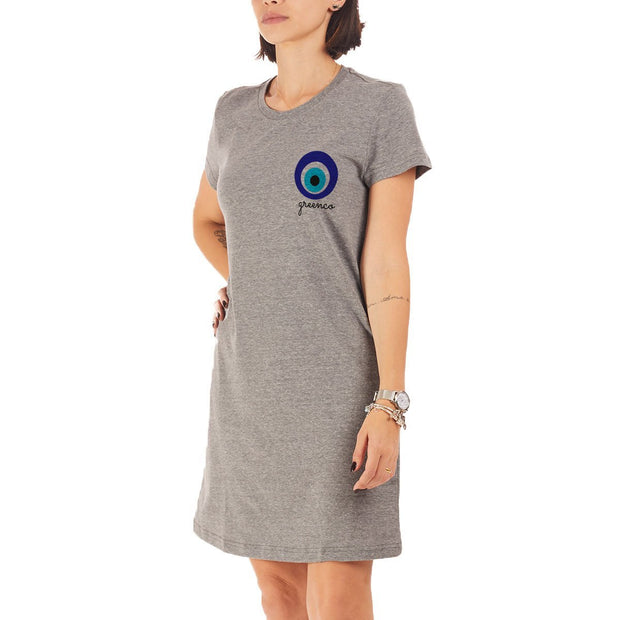 Recycled Polyester (PET) T-Shirt Dress - Greek Eye