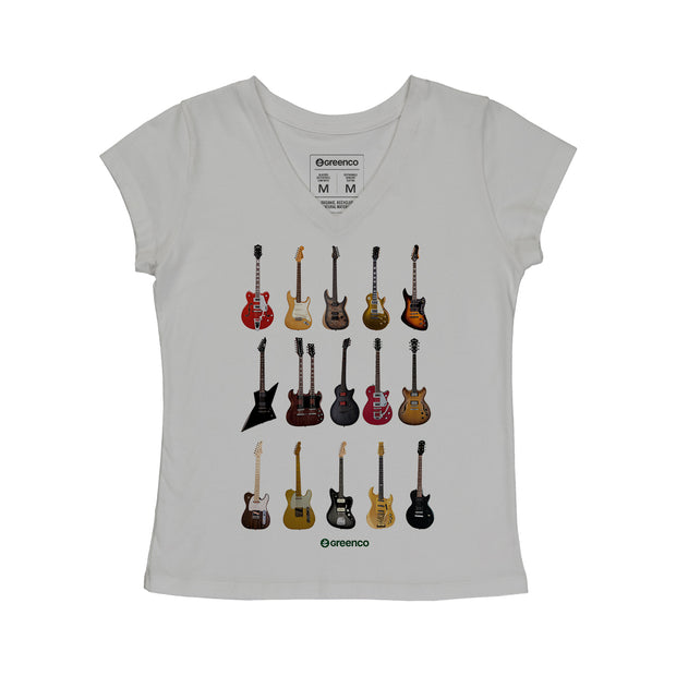Comfort Cotton Women's V-neck T-shirt - Guitar Types