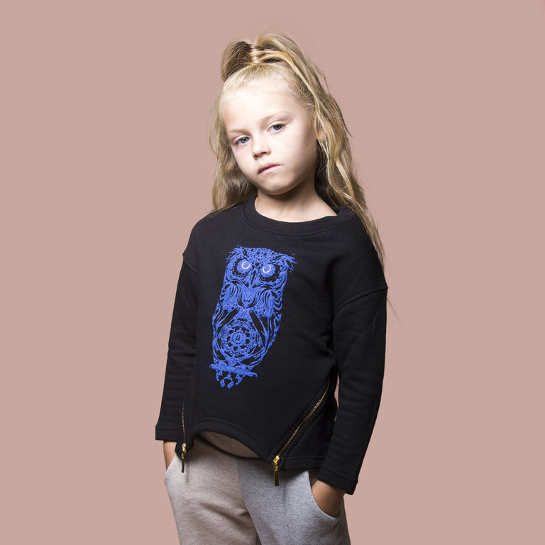 Girls Knitted owl sweat side zip