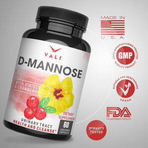 VALI D-Mannose UTI Support - Organic Cranberry and Hibiscus Flower