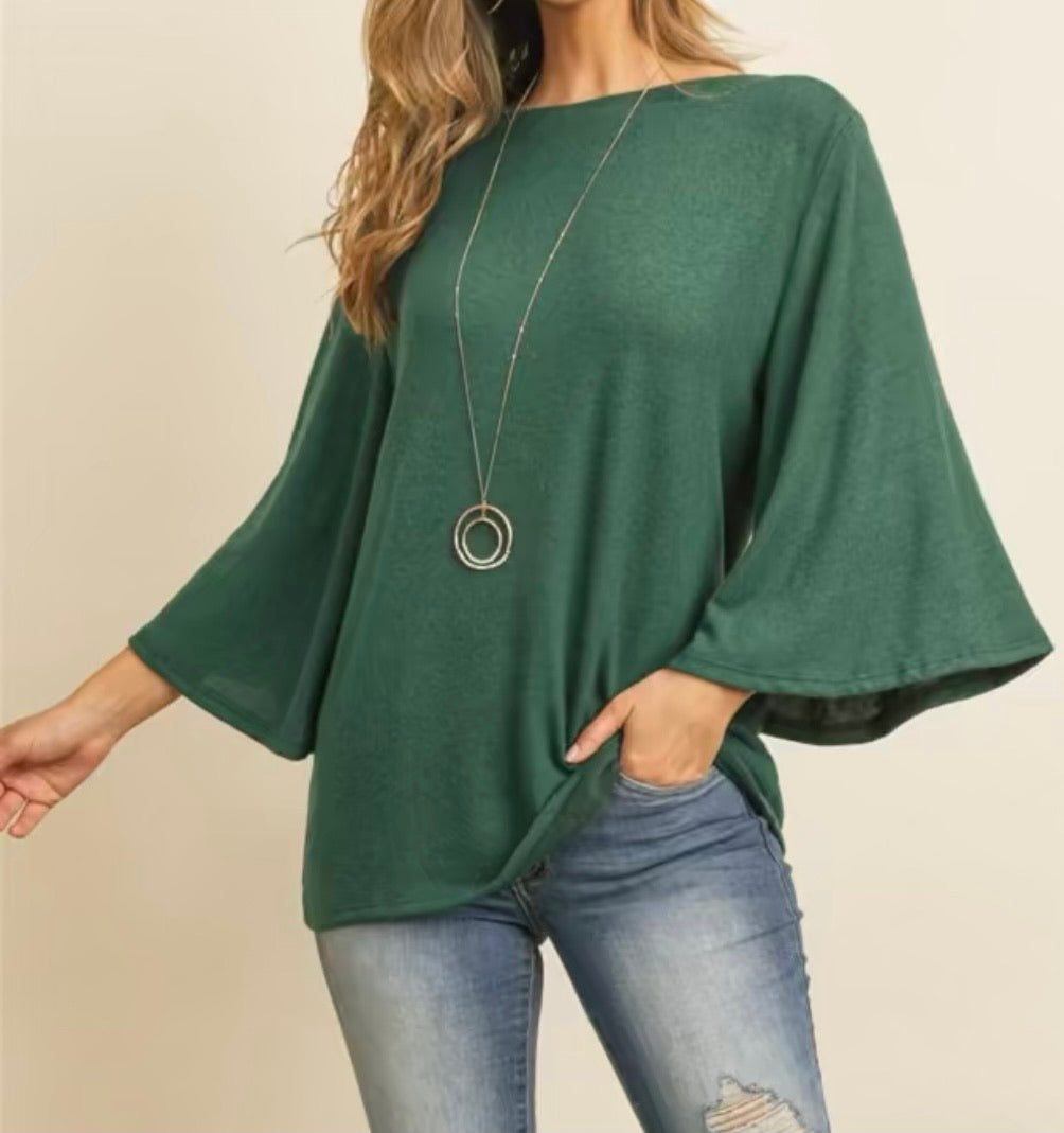 Boatneck Bell Sleeve Top