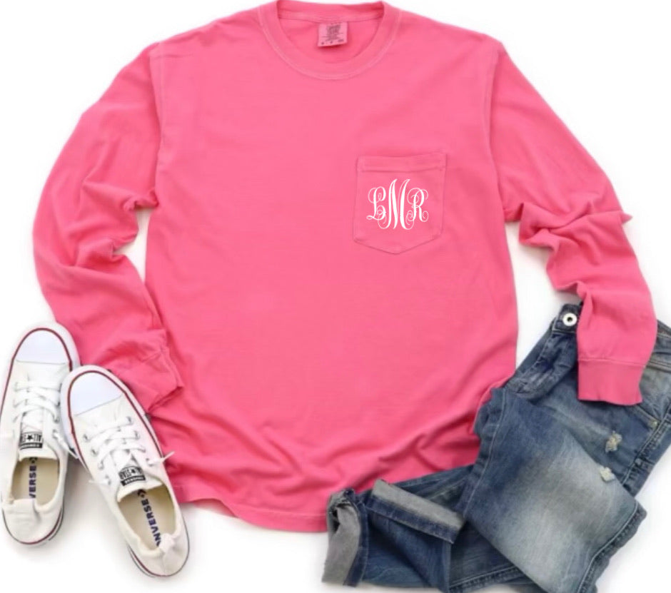 Personalized Long Sleeve Comfort Color Pocket Tee